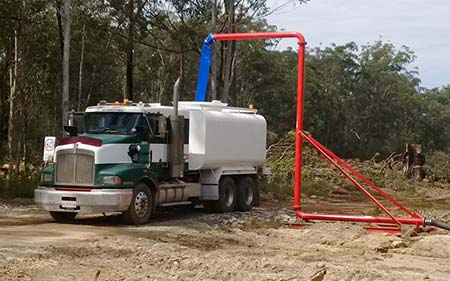 Water truck filling up
