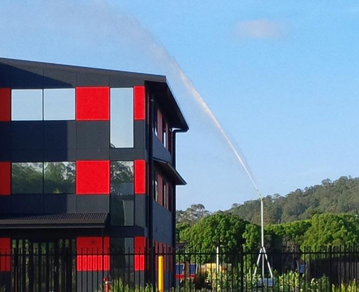 Water-Curtain-RedBuildingSprinkler